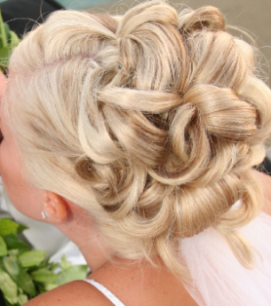 Special occasion upstyle with relaxed curls